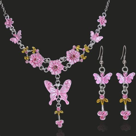 6 colors butterfly jewelry set Elegant bride Wedding women