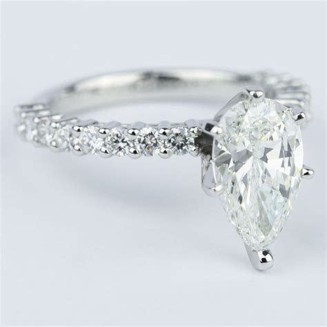 carat pear diamond shared prong engagement ring