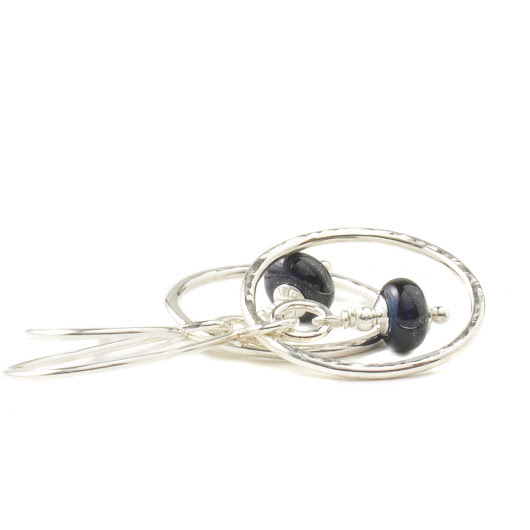 Silver Hoop Earrings | Lampwork Glass Hoop Earrings in Sterling Silver | UK Handmade Jewellery