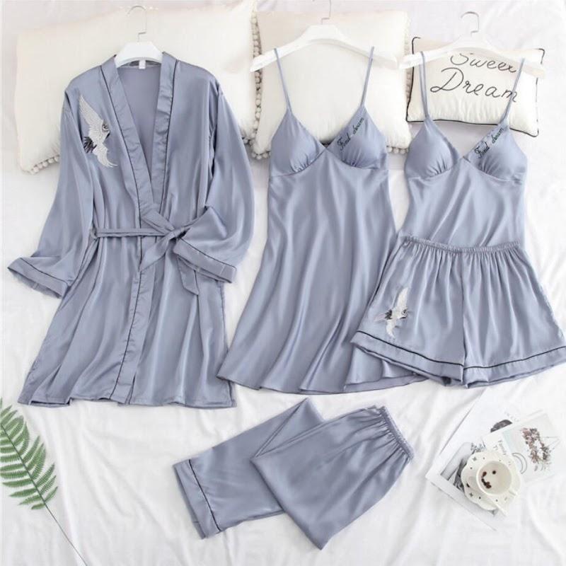 Discount  5pcs Crane Pajamas Women Sexy Lingerie Fashion Silk Pajama Sets Women Summer Pijama Mujer Pyjama wi