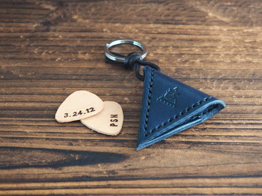 Leather Guitar Pick Case Keychain #Navy Blue | ES Corner