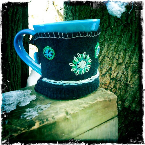 Tea cozy from recycled sweater