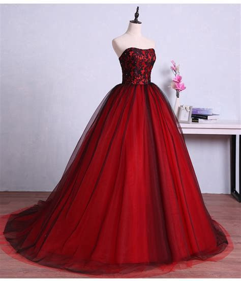 Vintage Red Black Gothic Wedding Dresses 2017 Sweetheart