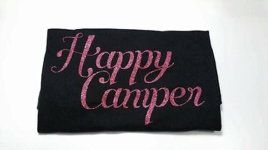 Ladies Happy Camper T-shirt in Black by SimplySusanSimon on Etsy