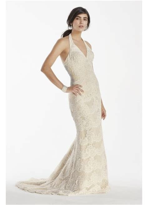 Scallop Beaded Lace Halter V Neck Trumpet Gown   David's