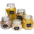 Best Choice Products Mason Jars with Labeling Stickers & Chalk Set, Clear - 5 count