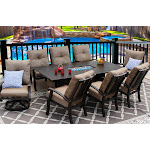 Garden Patio 9PC Set Swivel Rocker Dining Chairs big Fire Table