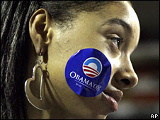 An Obama supporter in Pennsylvania, 27 Oct 2008