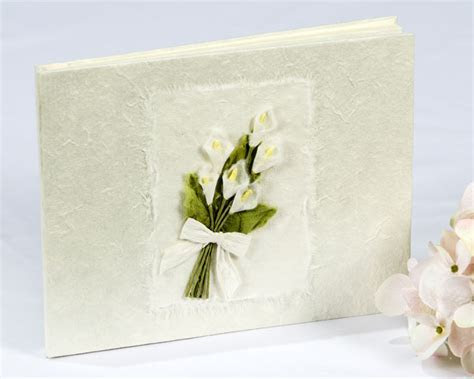 Calla Lily Bouquet Natural Paper Wedding Guestbook