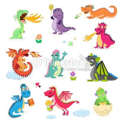 ドラゴン漫画ベクトルかわいいトンボ ディノ文字赤ちゃん恐竜の子供童話