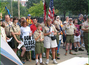 Scouters protest the sale of Camp Owasippe