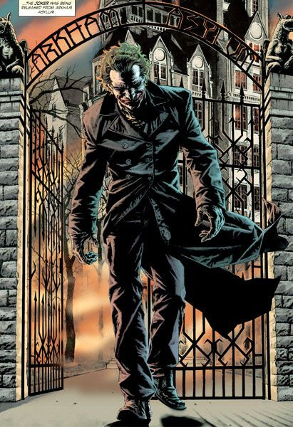 Artwork of the Joker leaving Arkham Asylum.