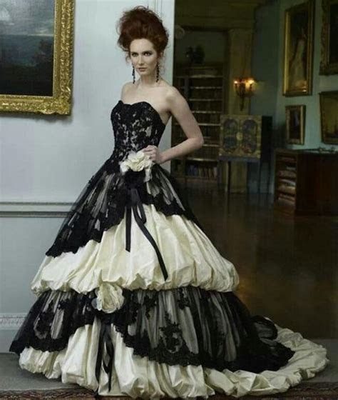 Victorian Style Wedding Dress Black And Ivory Sweetheart