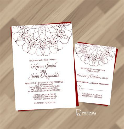 Free PDF   Spiral Ornament Border Wedding Invitation and