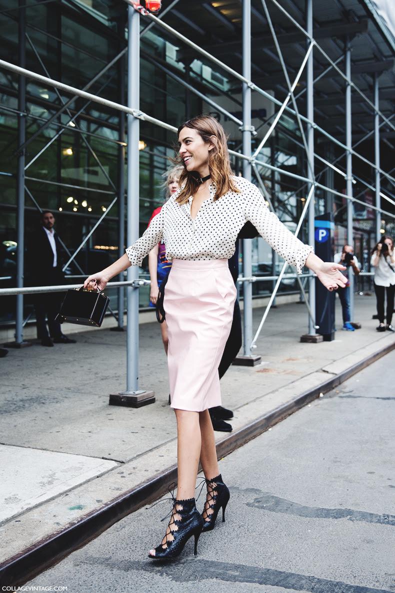 New_York_Fashion_Week_Spring_Summer_15-NYFW-Street_Style-Alexa_Chung-Marc_By_Marc_Jacobs-Pink_Skirt-Dots_Shirt-17