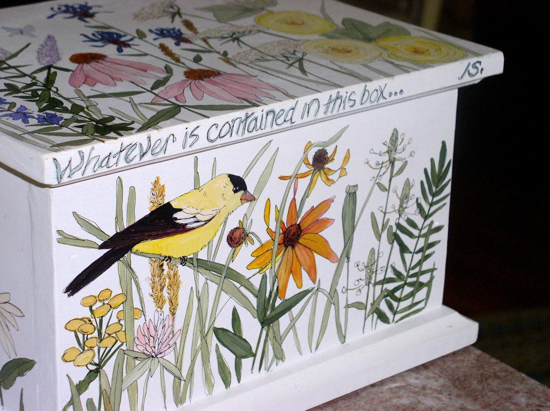 Keepsake Creation Box Painted Colorful Garden Flowers