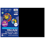 Pacon PAC103061BN 12 x 18 in. Tru Ray Construction Paper Black - Pack of 5