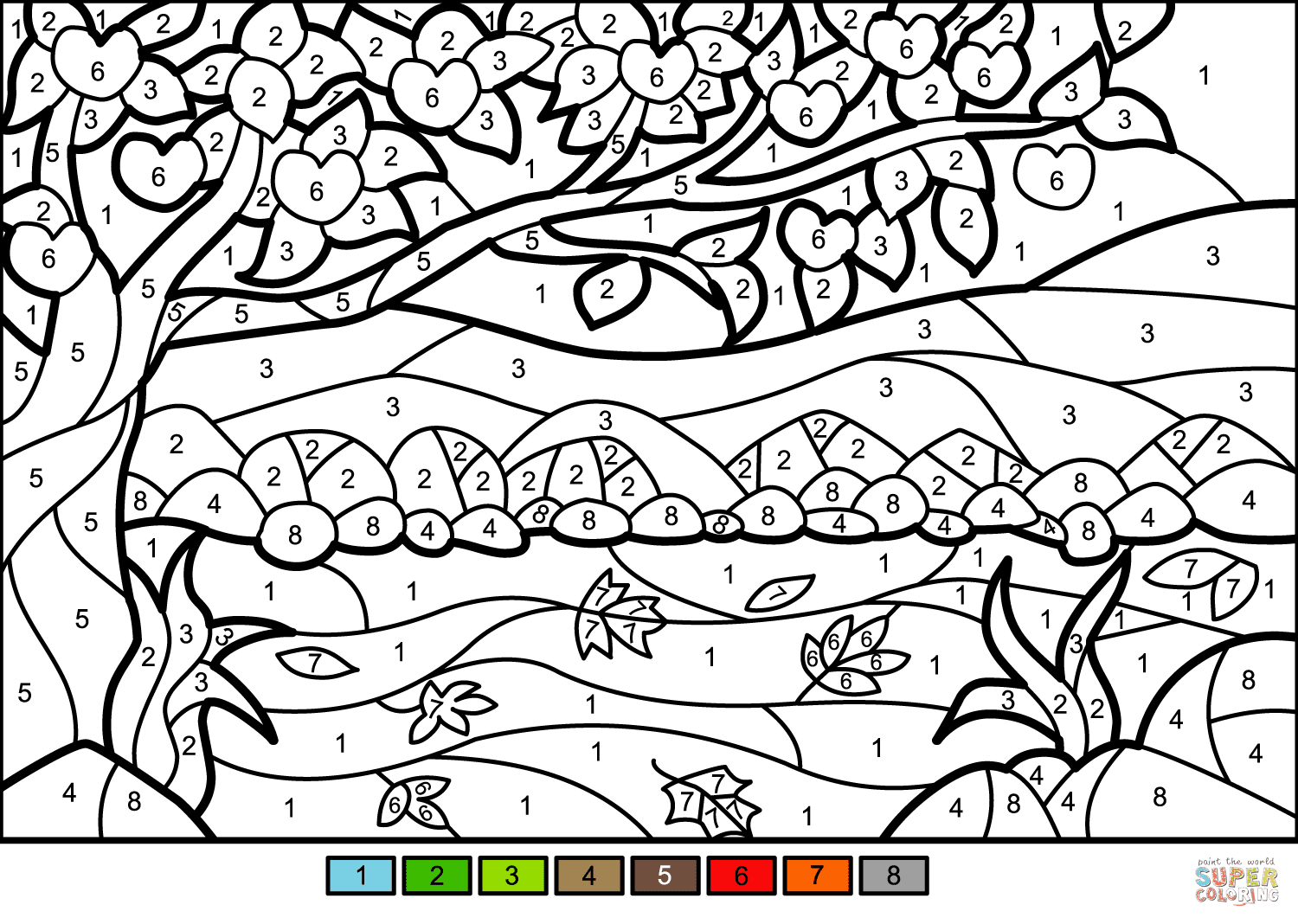 Apple Tree Color by Number | Free Printable Coloring Pages