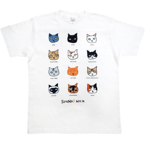 12匹の猫のイラストtシャツ白 Smile