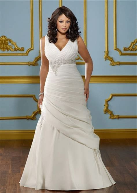 A Line V Neck Empire Waist Ruched Satin Plus Size Wedding