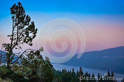 Stock Photo: Sunset on Lake Tahoe in California at Dusk