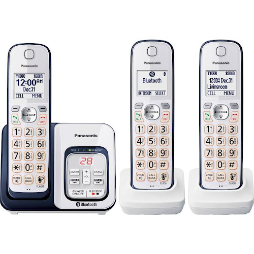 Panasonic Link2Cell KX-TGD563 Expandable Cordless Phone with 2 Handsets - Navy Blue