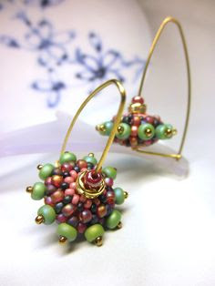 PLUM PURPLE GREEN Beaded Bead Brass Hoop Earwire by dharajewelry