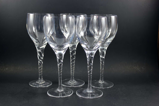 Heavy Crystal Stemware, Twisted Stem Red (5)