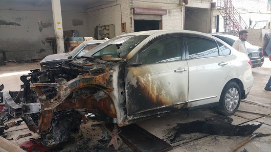 Nissan BlueBird Catches Fire due to Faulty Audio System Wiring