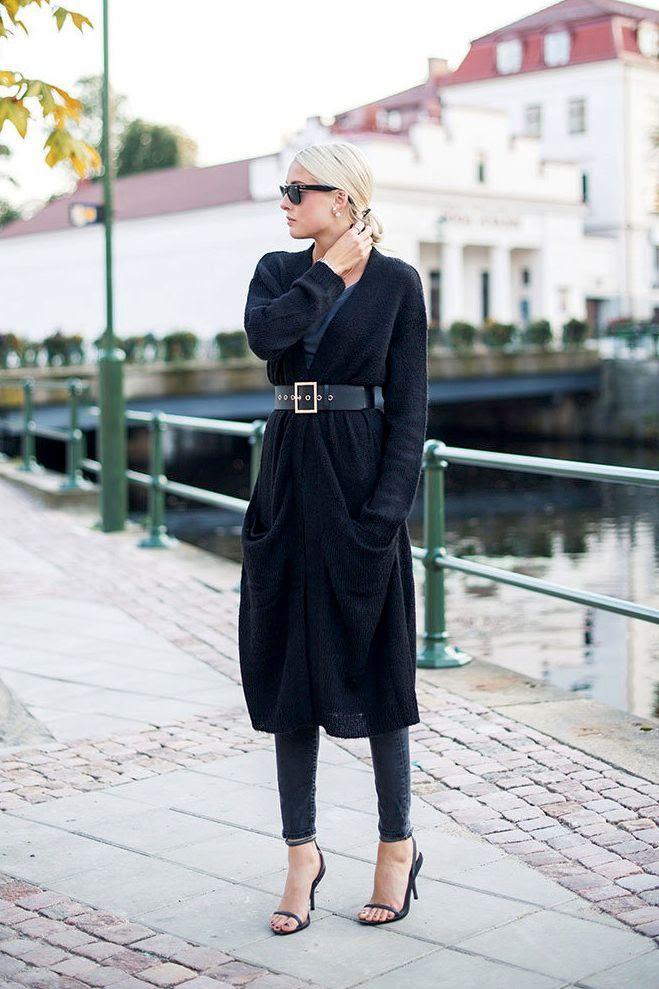 Le Fashion Blog -- Long Belted Cardigan, Low Bun, Double Pearl Earrings, Skinny Jeans & Heeled Sandals -- Via Ellen Claesson -- photo Le-Fashion-Blog-Long-Belted-Cardigan-Low-Bun-Double-Pearl-Earrings-Skinny-Jeans-Sandals-Via-Ellen-Claesson.jpg