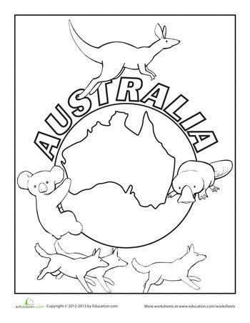 australia coloring page education australia crafts