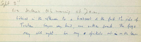 A page from Auden's unearthed journal