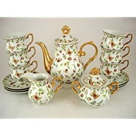 Italian Design Butterfly And Lady Bug Themed Fine Porcelain Tea