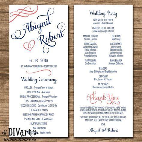 Elegant Wedding Program, Ceremony Program, Order of Events