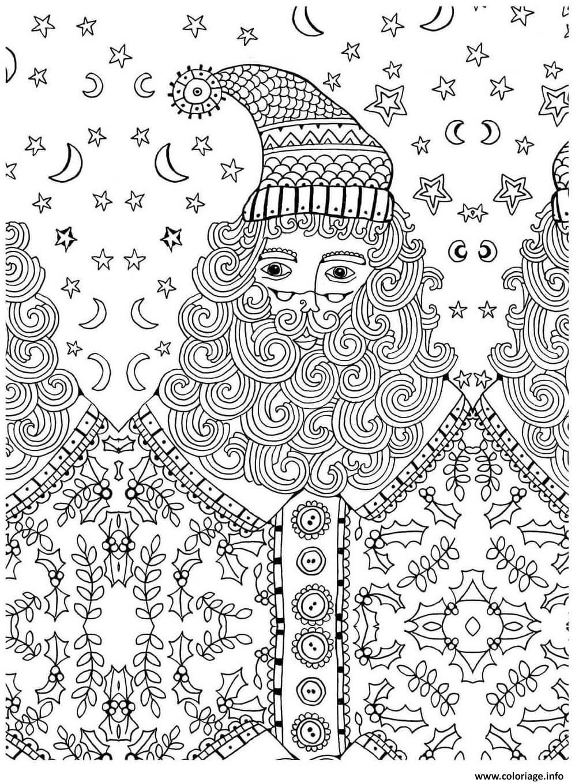 Coloriage Pere Noel Adulte Anti Stress Dessin  Imprimer