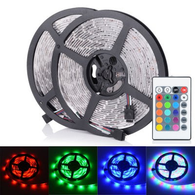 2 x HML 5M 30W 300 x SMD 3528 Water Resistant Flexible RGB LED Strip Light w/ 24 Keys Remote Controller