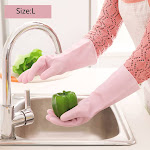 VOBERRY Varnish Rubber Cleaning Bowl Washing Rubber Waterproof Household Gloves,Multicolor-J
