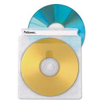 Fellowes Double-Sided CD/DVD Sleeves, 2 CD Capacity, 50 Sleeves (FEL90659)
