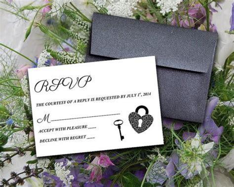 "DIY Wedding Template Response Card ""Key To My Heart"