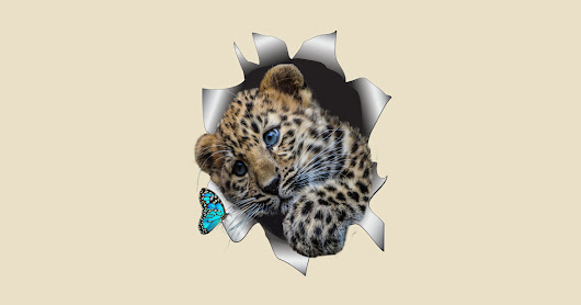 Leopard Cub and a Butterfly by nadine8may