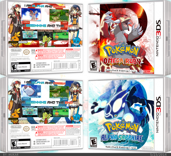 Pokémon Omega Ruby and Alpha Sapphire box art cover