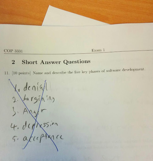 "ElisabethHendrickson on Twitter: ""Totally right answer. Don't know why it was marked wrong. @msdevUK: Honest dev exam (via @imgur) #programmerhumor """