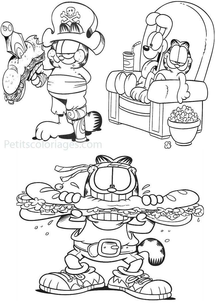 4 Coloriages Garfield Pirate Sandwich Rambo Odie Canapé Sur