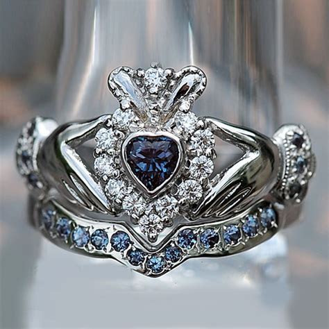 Heart Shape Sapphire and D/VVS1 Accents 10K White Gold