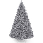 Best Choice Products 6ft Artificial Silver Tinsel Christmas Tree Holiday Decoration w/ 1,477 Branch Tips, Stand - 6ft