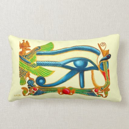 Egyptian Eye of Horus - Monogram Throw Pillow