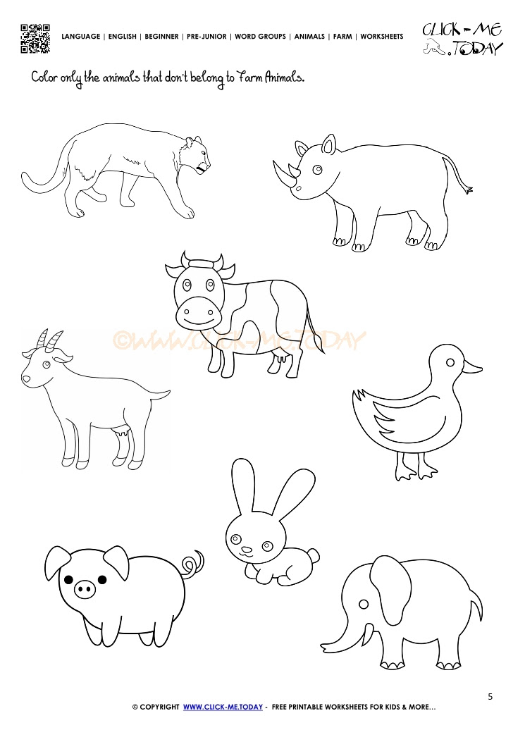 5 FREE DOWNLOAD WORKSHEETS FOR PRESCHOOLERS ON ANIMALS