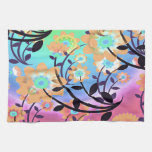 Pretty Abstract Multicolored Flowers Orange Kitchen Towel