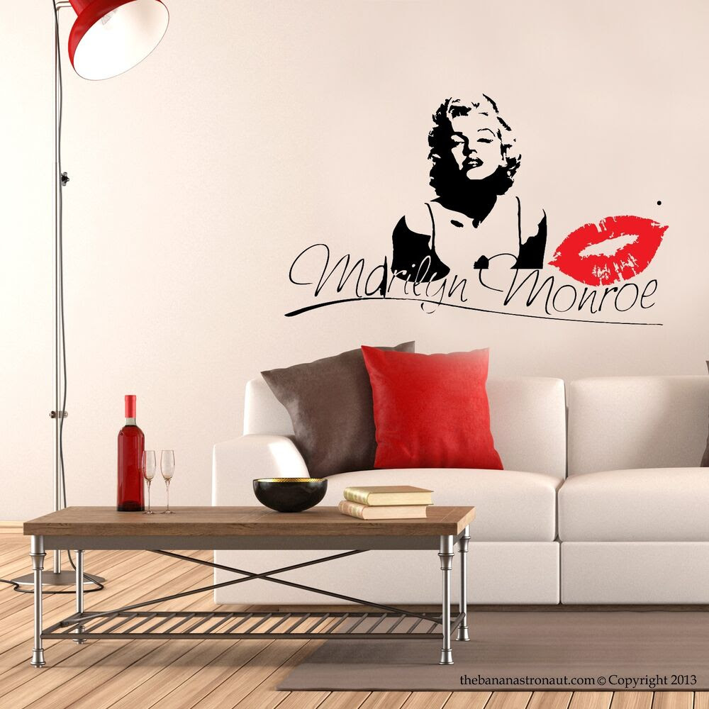 Marilyn Monroe Kiss Wall Decal Stickers Decor Easy Removable Sticker Size Small  eBay