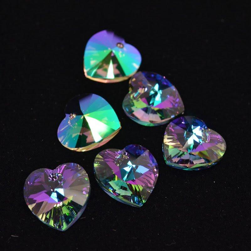 34762021210007 Swarovski Elements Pendant - 18 mm Faceted Xilion Heart (6228) - Crystal Paradise Shine (1)